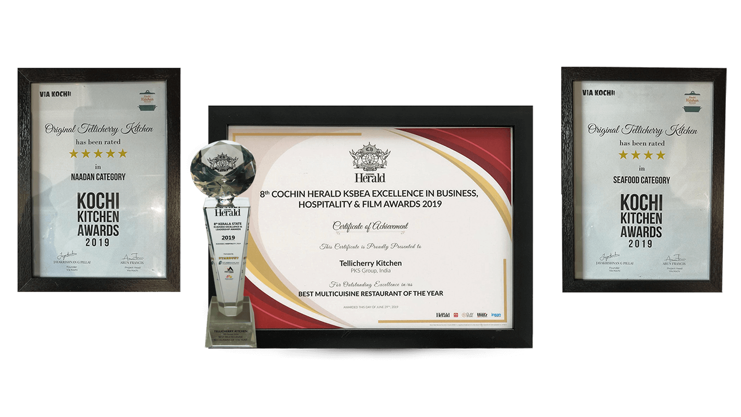Best Naadan Restaurant-Kochi Kitchen Awards 2019:Best Multicuisine Restaurant-8th Cochin Herald KSBEA Excellence in Business,Hospitality&Film Awards 2019:Best Seafood Restaurant-Kochi Kitchen Awards 2019
